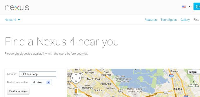 El Nexus 4 tiene un buscador de tiendas propio