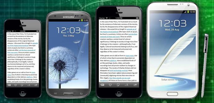 Comparativa todos los tamaños iPhone