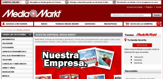 Página web de Mediamarkt