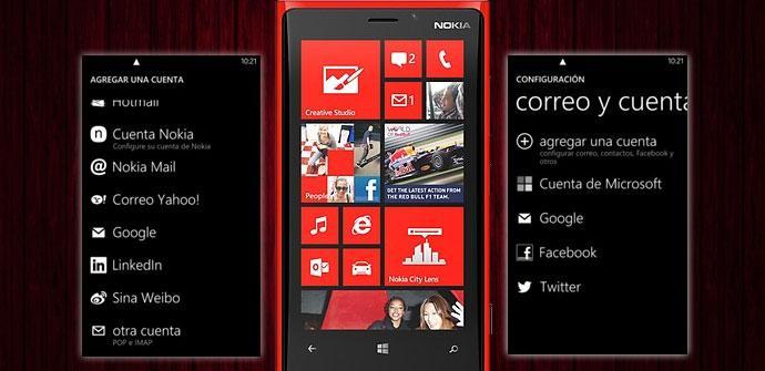 Nokia Lumia 920 rojo con capturas de correo
