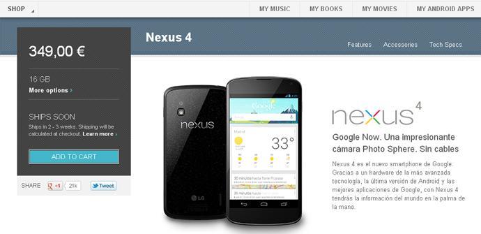 El Nexus 4 de nuevo disponible en la Google Play