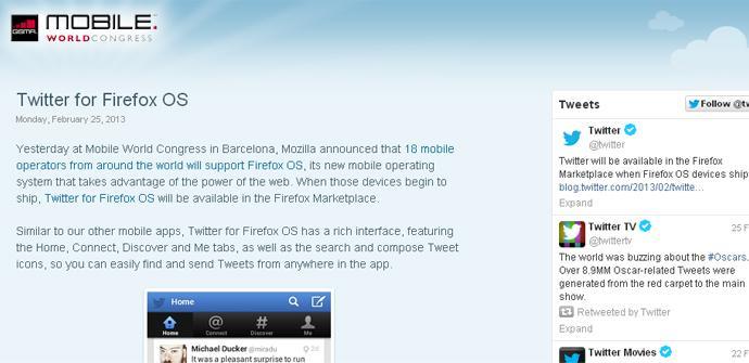 Twitter apoya a Firefox OS