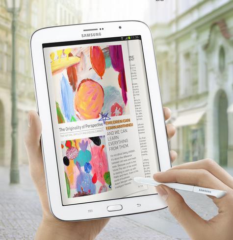 Samsung Galaxy Note 8 blanco con dibujos en pantalla