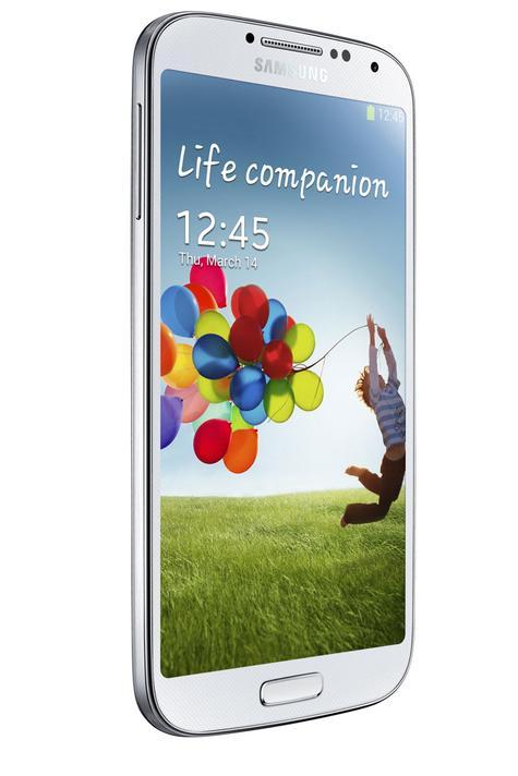 Samsung Galaxy S4 blanco visión lateral