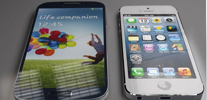 Comparativa de tamaño del Samsung Galaxy S4 frente al iPhone 5
