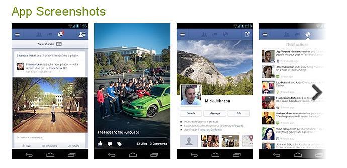 Actualización de Facebook para Android en Google Play