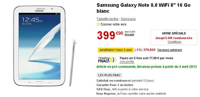 Precio del Samsung Galaxy Note 8.0 en Francia
