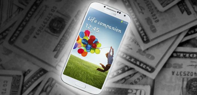 Samsung Galaxy S4 con fondo de dinero