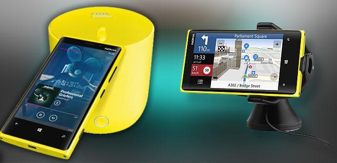 Cargador y altavoz de Nokia amarillo