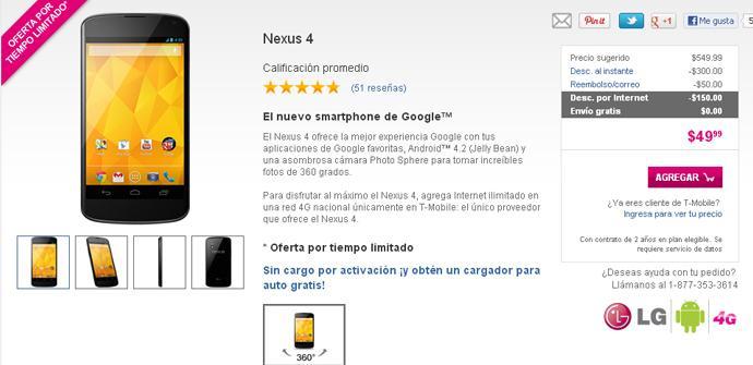 T-Mobile ofrece el Nexus 4 por 50 dólares