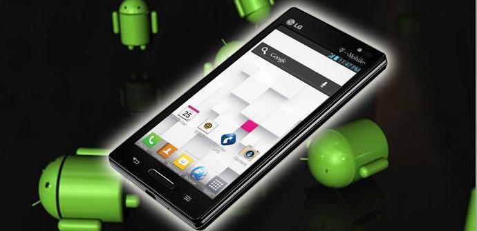 Terminal Optimus L9 con logos de Android