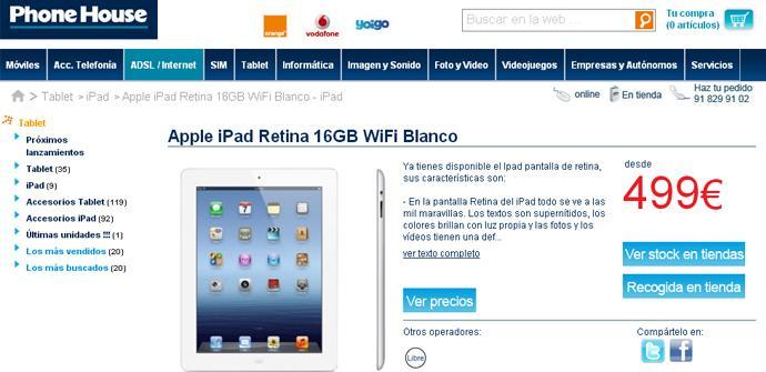 Los iPad de 16 GB en The Phone House