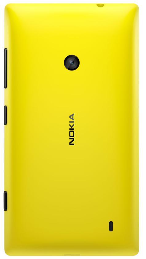 Nokia Lumia 520 de color amarillo vista trasera