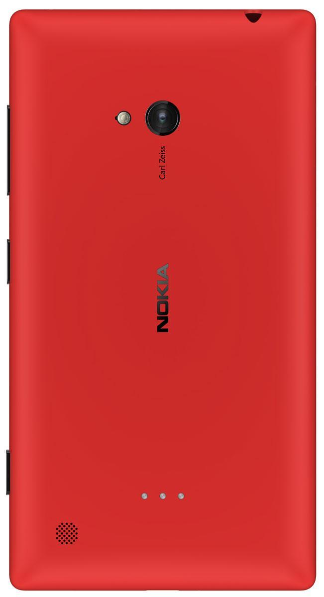 Nokia Lumia 720 rojo vista trasera