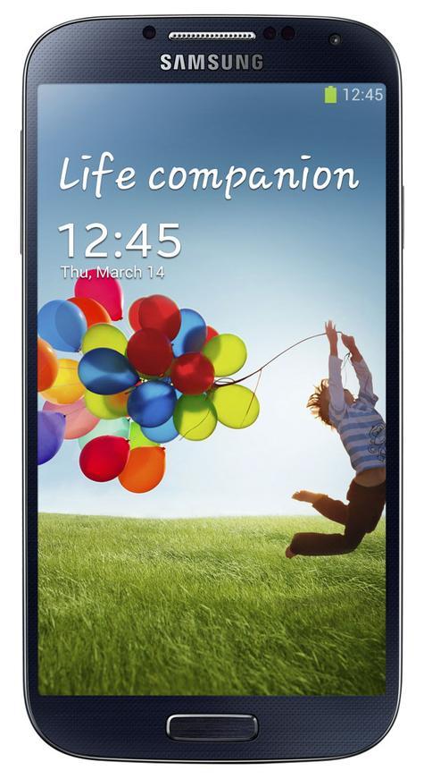 Samsung Galaxy S4 azul visión frontal