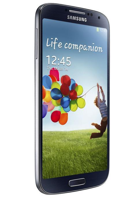 Samsung Galaxy S4 azul visión lateral