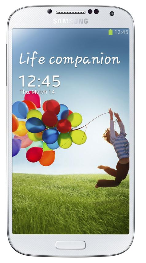 Samsung Galaxy S4 azul blanco toma frontal