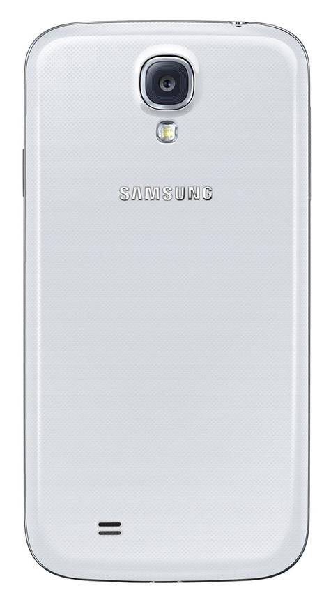 Samsung Galaxy S4 azul blanco toma trasera