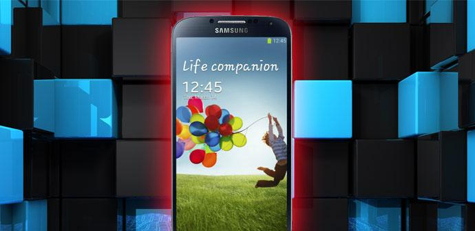 Galaxy S4 con fondo de cuadros