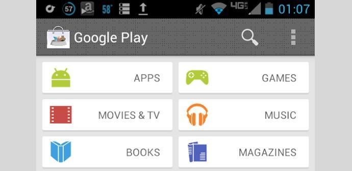 Aspecto de la nueva página de inicio de Google Play