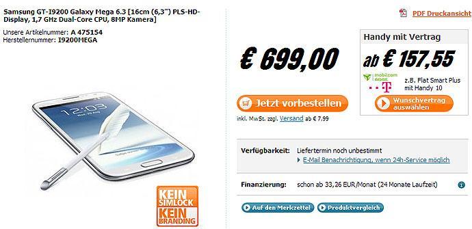 Precio del Samsung Galaxy Mega 6.3