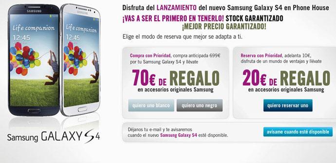 Reserva del Samsung Galaxy S4 en TPH
