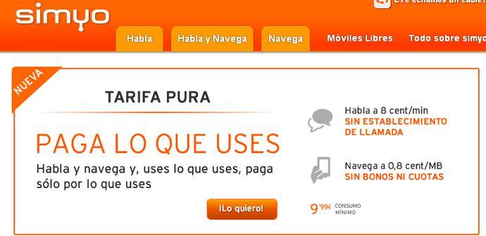 Nueva tarifa Pura de Simyo