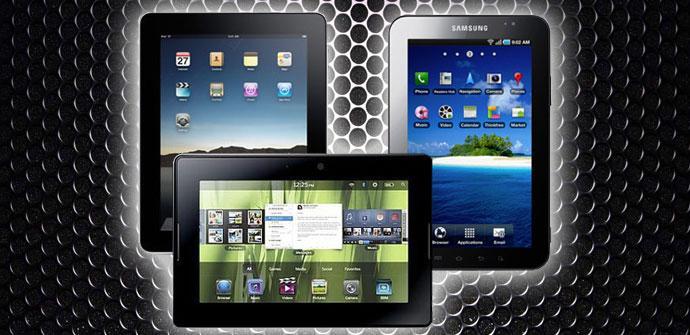 Diferentes tablets en fondo negro