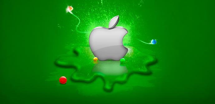 Logo de Apple sobre fondo verde