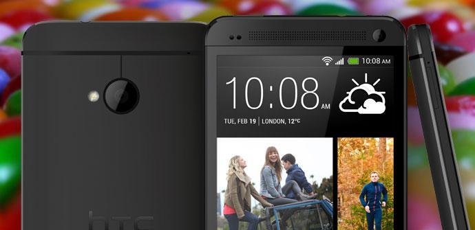 Teléfoo HTC One con fondo Jelly Bean