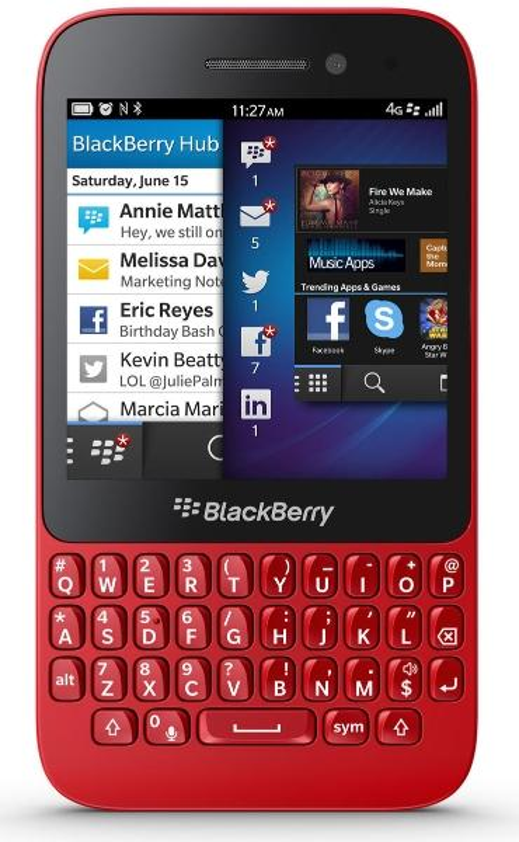 BlackBerry Q5 rojo vista frontal
