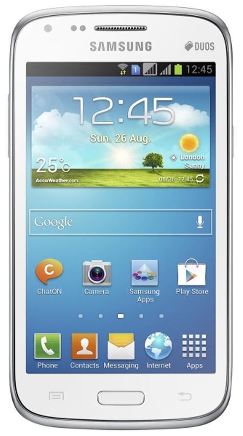 Samsung Galaxy Core blanco vista frontal