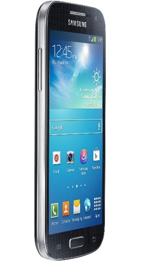 Samsung Galaxy S4 Mini blanco vista de tres cuartos