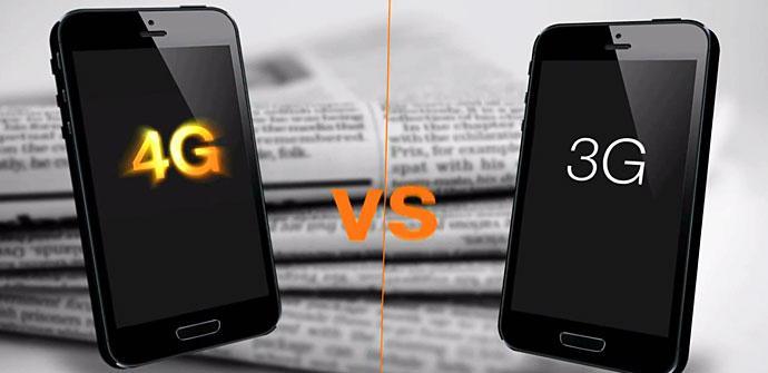 Móviles con logotipo de 4G y 3G