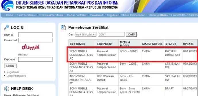 Un nuevo número de modelo de Sony aparece registrado en una web.