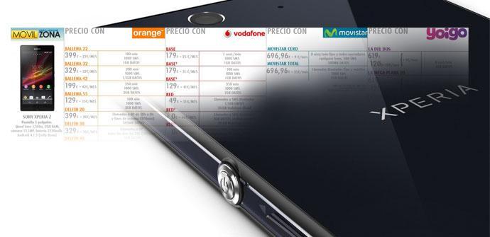 Tabla de precios del Sony Xperia Z