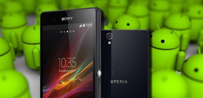 Sony Xpria Z con el fondo Android