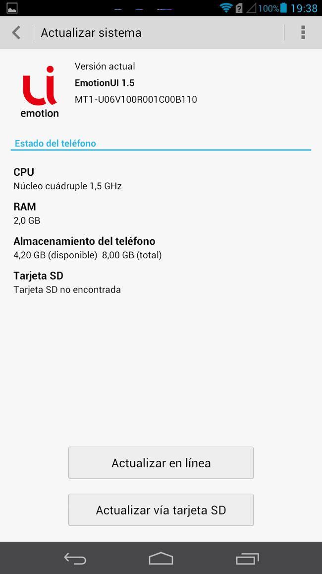 Huawei Ascend Mate inforamación sistema