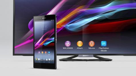 Sony Xperia Z Ultra con televisor en color