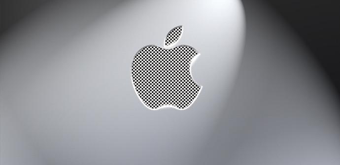 Logo de Apple sobre fondo gris