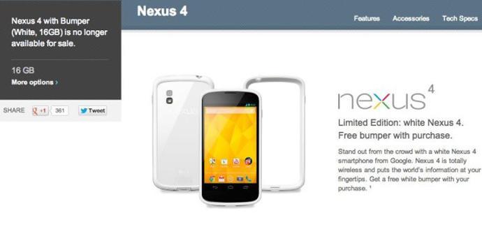 El Nexus 4 blanco de 16GB ya no estará más a la venta en Google Play.