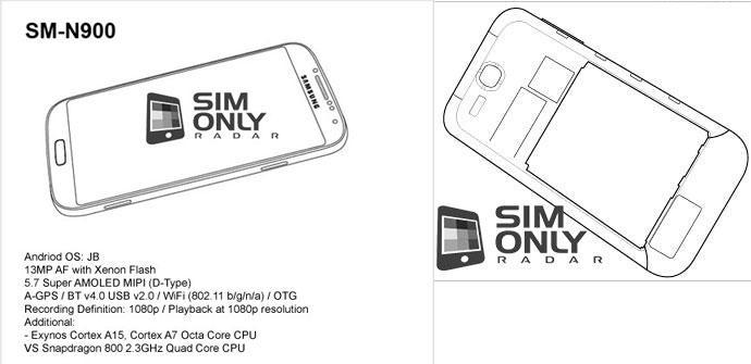 Bocetos originales del Samung Galaxy Note 3