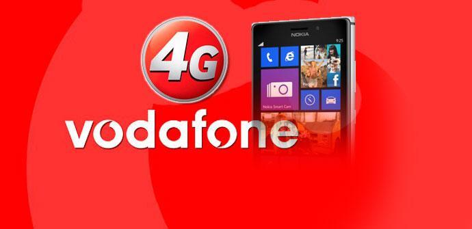 Logotipo de Vodafone 4G con Nokia Lumia 925