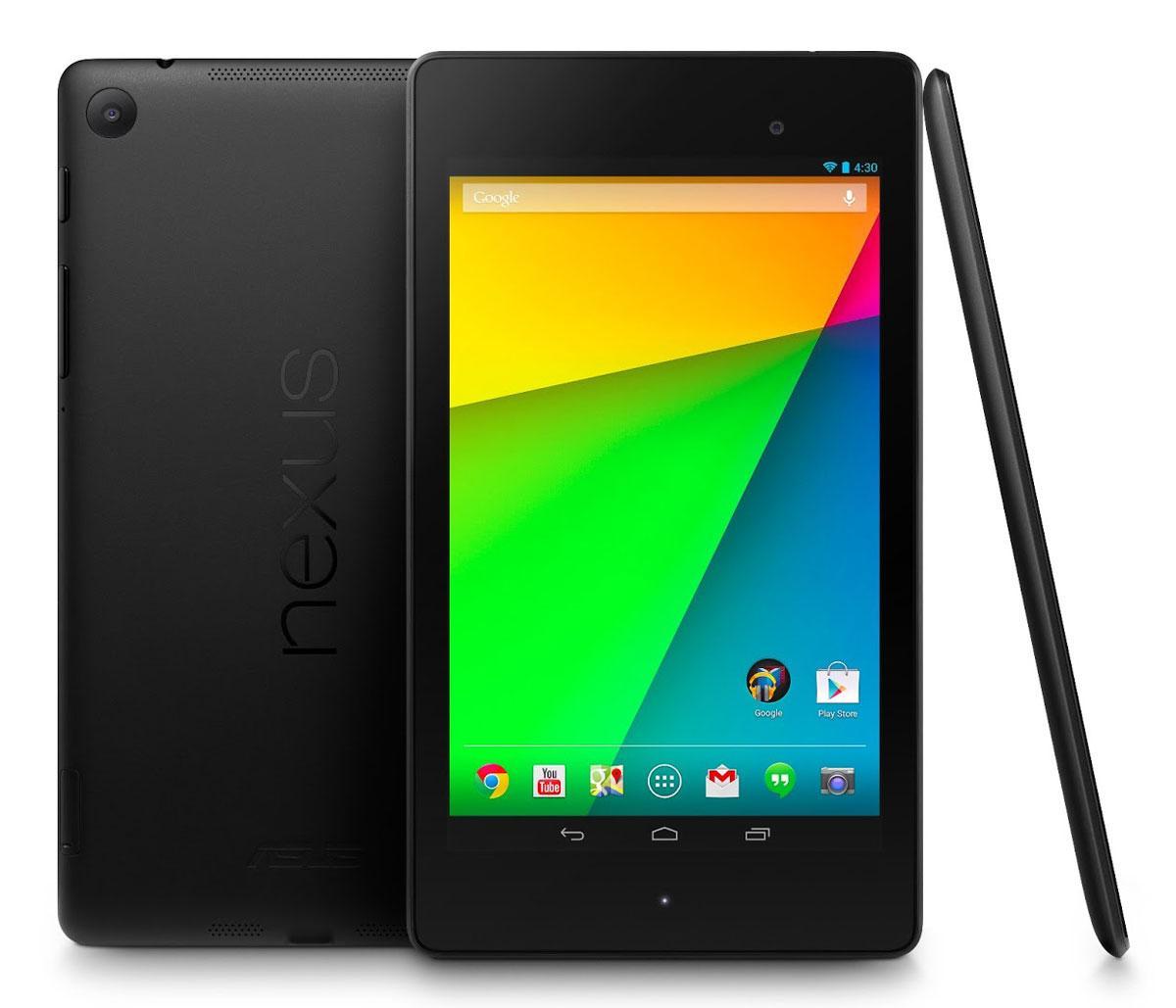 Nuevo Nexus 7 vista frontal, lateral y trasera