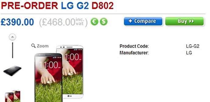 LG G2 preventa Reino Unido.
