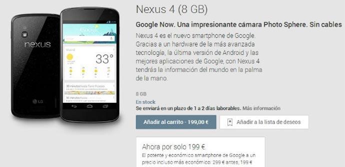 Google baja 100 euros el precio del Nexus 4.