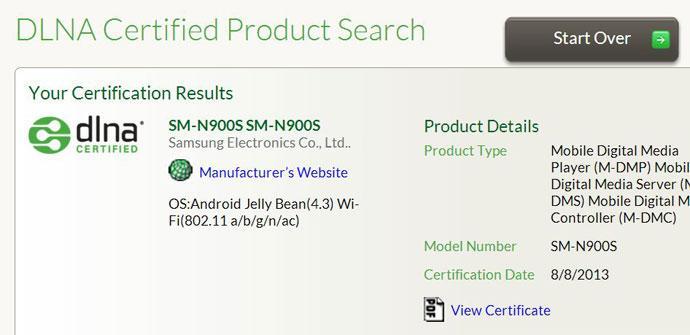 Certificacion DLNA del Samsung Galaxy Note 3