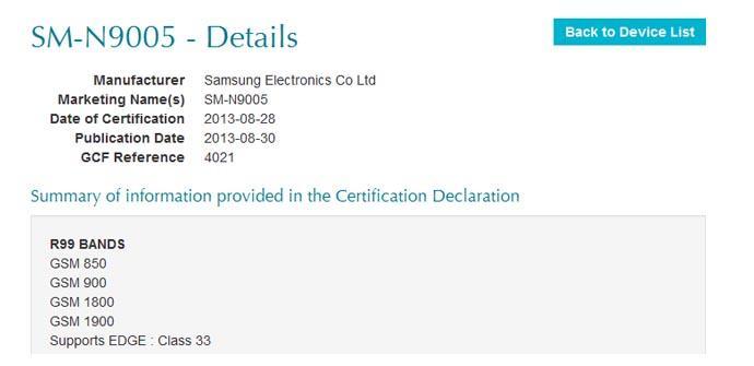 El Samsung Galaxy Note 3 con LTE ya ha sido certificado por la GCF.