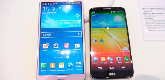 Galaxy Note 3 vs LG G2, comparativa en vídeo.