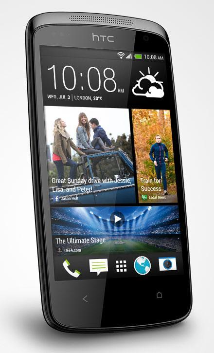 HTC Desire 500 en color negro vista frontal